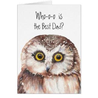 Custom Best Dad  Cute Owl Humor Card