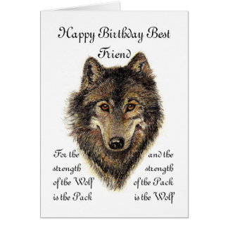 Custom Best Friend Birthday -Wolf and Pack Quote Greeting Card