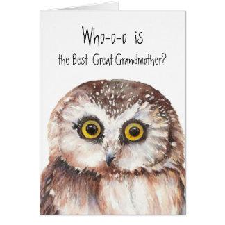 Custom Best Great Grandmother Cute Owl Humor Card