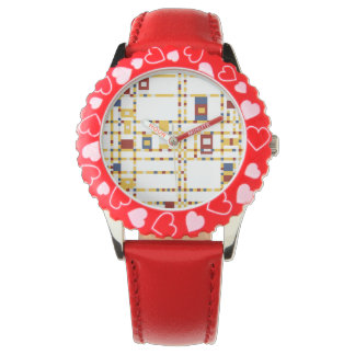 Custom Bezel with Red Hearts Watch