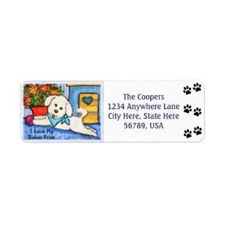Custom Bichon Frise Dog Art Return Address Labels
