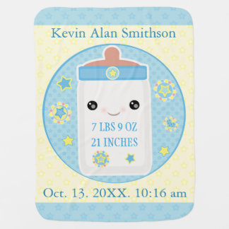 Custom Birth Announcement Boy Baby Blanket