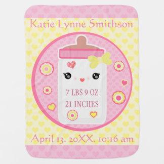 Custom Birth Announcement Girl Baby Blanket