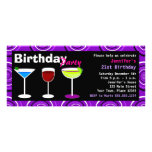 Custom Birthday Cocktail Party Invite Purple Swirl