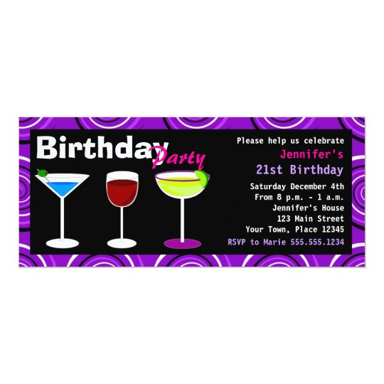 Custom Birthday Cocktail Party Invite Purple Swirl