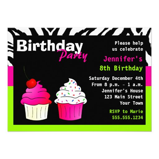 Custom Birthday Cupcake Party Lime Green Zebra Announcement