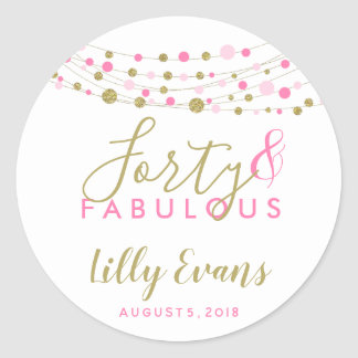 custom birthday favour stickers, any age glitter classic round sticker