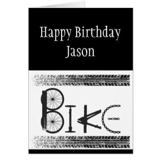 Custom Birthday Graffiti Bike Parts Tire Tracks Greeting Card