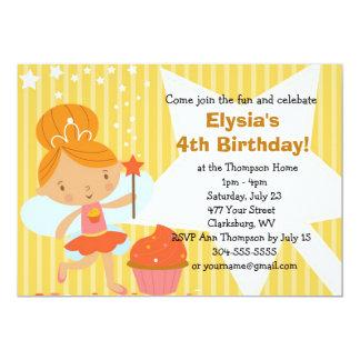 Custom Birthday Party - Fairy Princess Cupcake 13 Cm X 18 Cm Invitation Card