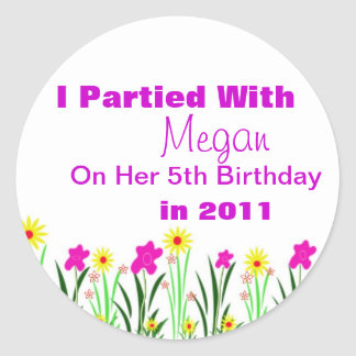 Custom Birthday Party Favour Stickers