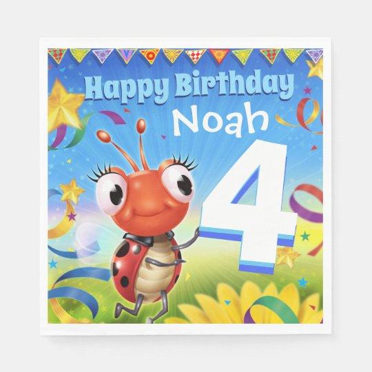 Custom Birthday Party paper napkin boy 4yrs old