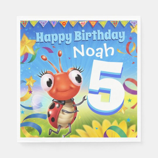 Custom Birthday Party paper napkin boy 5yrs old