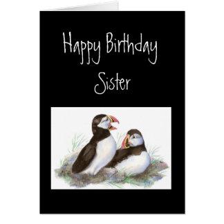 Custom Birthday, Sister, Cute Puffins Bird Nature Card