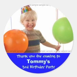 Custom Birthday sticker: My little boy's birthday Round Sticker