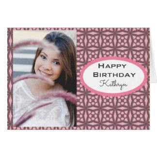 Custom Birthday w/Lace & Photo Card