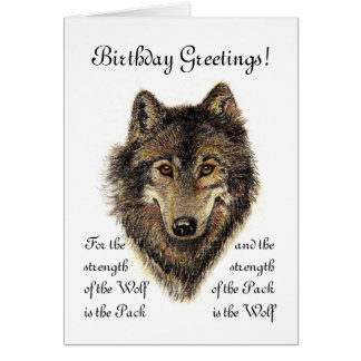 Custom Birthday -Wolf and Pack Quote Card