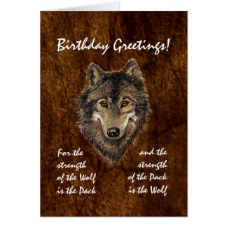 Custom Birthday -Wolf and Pack Quote Greeting Card