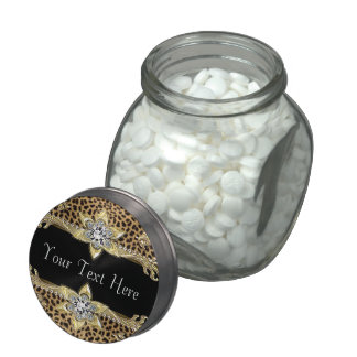 Custom Black and Gold Leopard Corporate Candy Jar Glass Jars