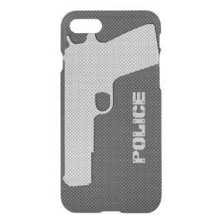 Custom Black and Grey Carbon Fibre Police Gun iPhone 8/7 Case