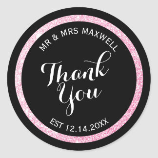 Custom Black and Pink Glitter Thank You Round Sticker