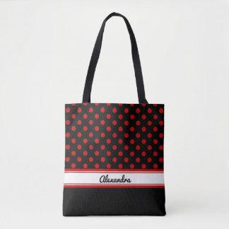 Custom Black and Red Polka Dots Black Base Tote Bag