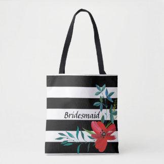 Custom Black and White Floral Bridesmaid Tote Bag