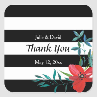 Custom Black and White Floral Wedding Thank You Square Sticker