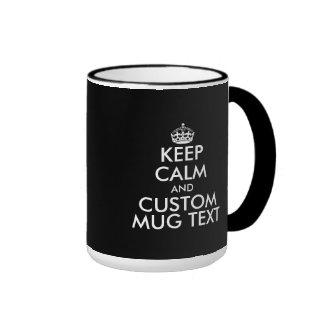 Custom black and white Keep Calm 15oz ringer mugs