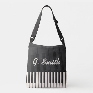 Custom Black and White Piano Keyboard. Add Name. Crossbody Bag