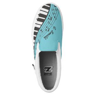 Custom Black and White Piano Keyboard. Add Name. Slip On Shoes