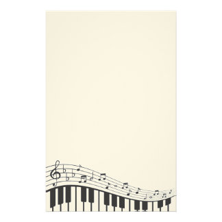 Custom Black and White Piano Keyboard. Add Name. Stationery