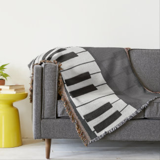 Custom Black and White Piano Keyboard. Add Name. Throw Blanket