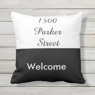 Custom Black and White Street Address Welcome Outdoor Cushion