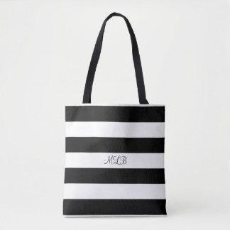 Custom Black and White Striped Tote Bag