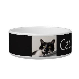 Custom Black and White Tuxedo Cat Pet Bowl