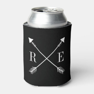 Custom Black Arrow Monogram Wedding Can Cooler
