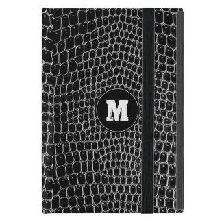 Custom Black Croc Monogram Crocodile Skin ipad min Cover For iPad Mini