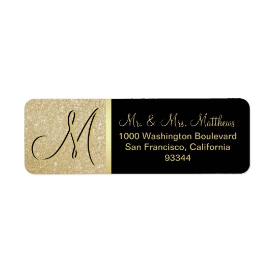 Custom Black Gold Glitter Monogram Letter Return Return Address Label
