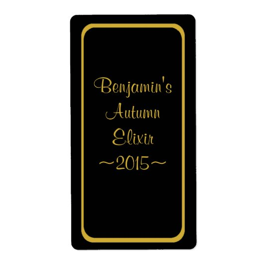 Custom Black & Gold Homemade Wine Bottle Label