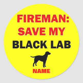 Custom Black Lab Fire Safety Classic Round Sticker