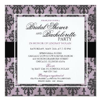 CUSTOM Black Lace Bachelorette/Bridal Shower V2 13 Cm X 13 Cm Square Invitation Card