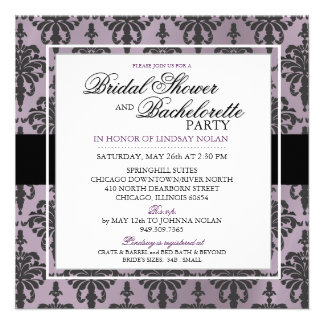 CUSTOM Black Lace Bachelorette Bridal Shower V2 Invitations