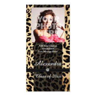 Custom Black Leopard Ribbon Jewel Girl Graduation Photo Card