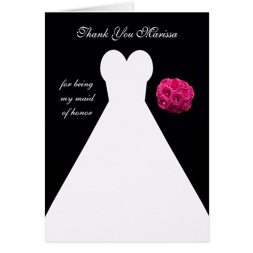 Custom Black Maid of Honor Thank You Card