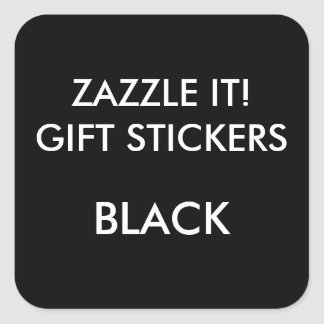 Custom BLACK SQUARE Large Gift Stickers Template