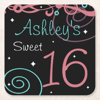 Custom Black Sweet 16 Birthday Party Coasters Square Paper Coaster