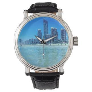 Custom Black Vintage Leather Watch Beach 2