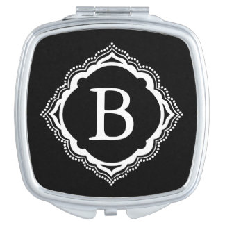 Custom Black & White Monogram Compact Mirror