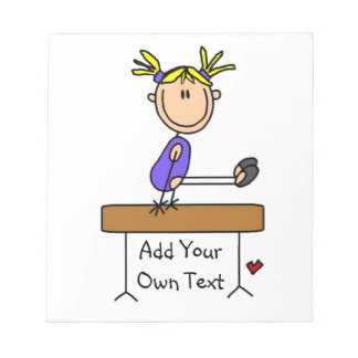 Custom Blond Girl Gymnast on Balance Beam Notepad