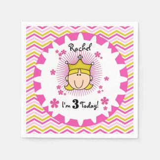 Custom Blond Princess 3rd Birthday Paper Napkins